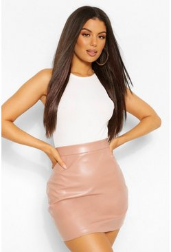 Rose pink Leather Look A Line Mini Skirt