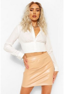 Nude Leather Look A Line Mini Skirt