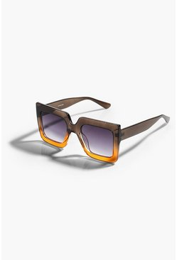 Brown Chunky Square Ombre Frame Glasses