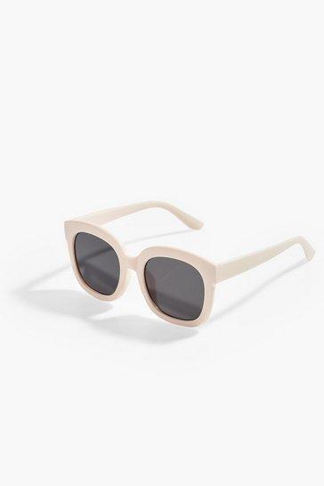 Cream white Simple Oversized Square Glasses
