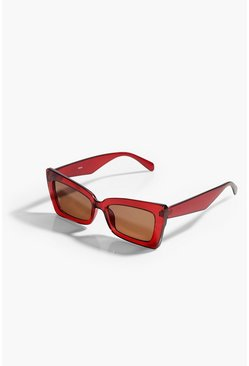 Red Oversize Rectangle Cateye Sunglasses