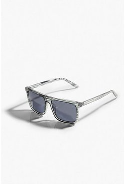Clear Patterned Flat Top Wayfarer