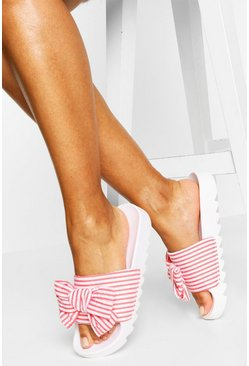 Pink Stripe Bow Detail Cleated Slider
