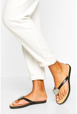 White Embellished Heart Detail Flip Flops