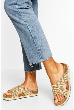 Natural beige Raffia Cross Strap Espadrille Flatforms