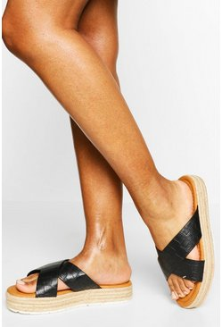 Black Wide Fit Croc Cross Strap Espadrille Flatform