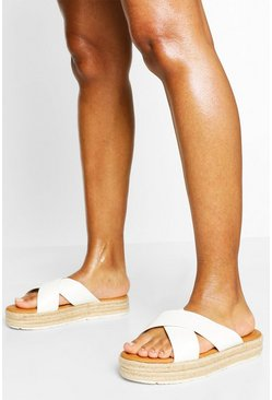 White Wide Fit Croc Cross Strap Espadrille Flatform