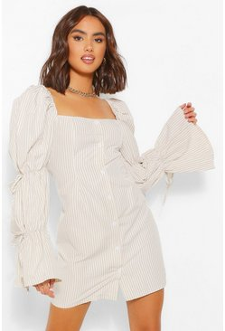 Yellow Stripe Puff Sleeve Shift Dress