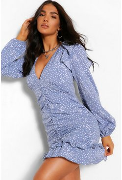 Blue Polka Dot Rouched Front Mini Dress