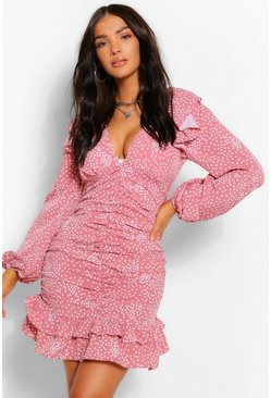 Rose Polka Dot Rouched Front Mini Dress