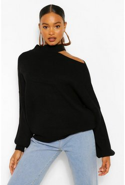 Black Cut Out Neckline Oversized Jumper