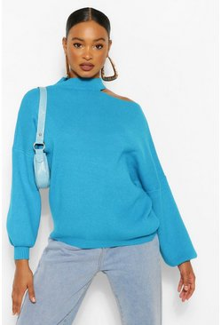 Blue Cut Out Neckline Oversized Sweater