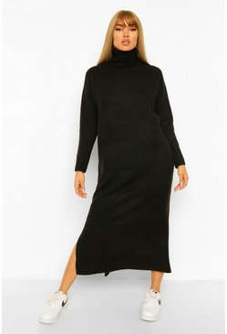 Black Roll Neck Oversized Knitted Dress