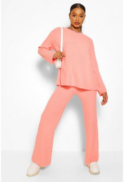 Peach orange Premium Wide Leg Rib Knit Coord
