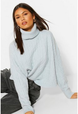 Blue Soft Knit Oversize Roll Neck Crop Jumper