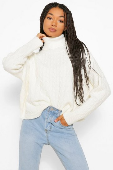 Cream white Soft Knit Oversize Roll Neck Crop Jumper