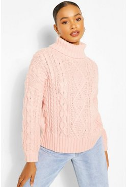Apricot nude Roll Neck Cable Knit Jumper