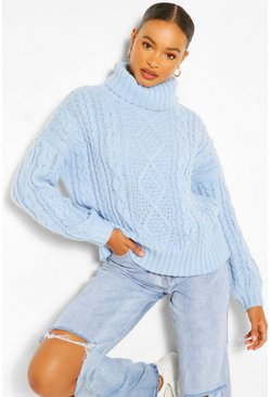 Blue Roll Neck Cable Knit Jumper