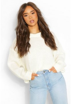 Cream white Slouchy Oversize Crop Sweater