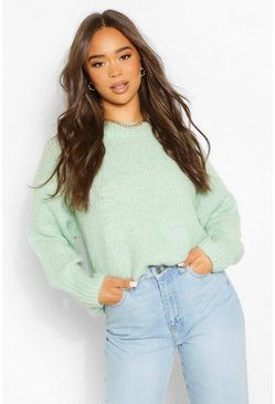 Sage green Slouchy Oversize Crop Sweater