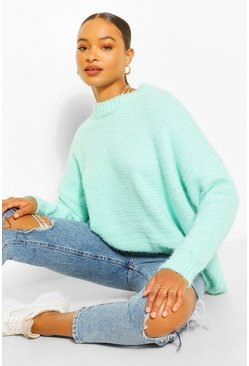 Aqua blue Soft Knit Slouchy Oversized Jumper