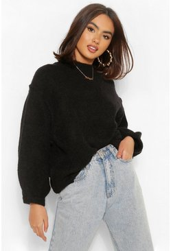 Black Oversized Balloon Sleeve Jumper