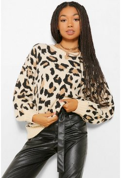 Leopard Print Balloon Sleeve Jumper