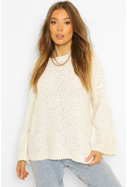 Cream white Textured Knit Crop Jumper