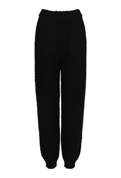 Black Textured Knit Joggers