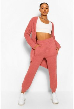 Rose pink Textured Knit Joggers