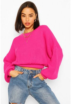 Cinch Waist Crop Jumper, Pink rosa