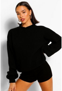 Black Balloon Sleeve Oversized Jumper