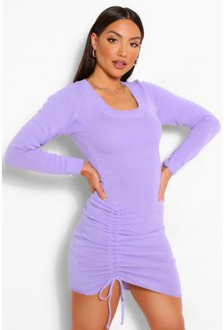 Purple Ruched Hem Knitted Mini Dress