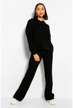 Black Knitted Hoody Co-ord