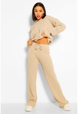 Stone beige Knitted Hoody Co-ord