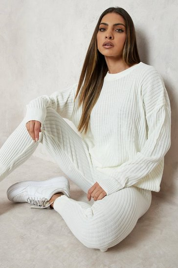 Ivory white Slouchy Rib Knitted Tracksuit