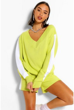Soft lime yellow Side Stripe Knitted Co-Ord