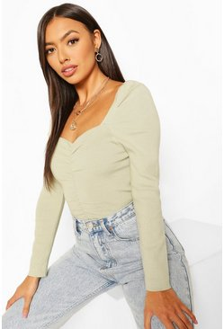 Mint green Puff Shoulder Ruched Front Jumper