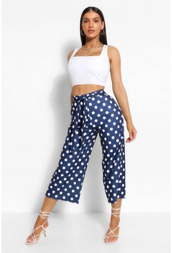 Navy Polka Dot Belted Culottes