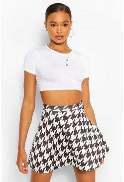 Black Dogtooth Print Skater Skirt