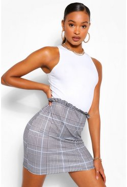 Grey Ruffle Edge Check Mini Skirt