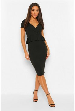 Black Peplum Short Sleeve Midi Dress