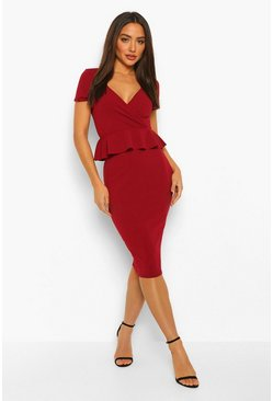 Burgundy red Peplum Short Sleeve Midi Dress