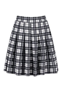 Black Mono Check Pleated Side Split Tennis Skirt