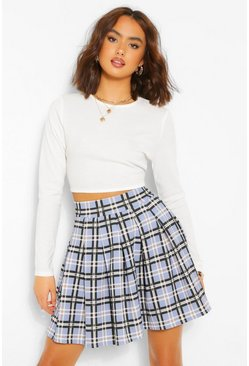 Baby blue blue Pastel Check Pleated Side Split Tennis Skirt