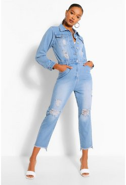 Mid blue Distressed Raw Hem Denim Boilersuit