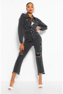Washed black Distressed Raw Hem Denim Boilersuit