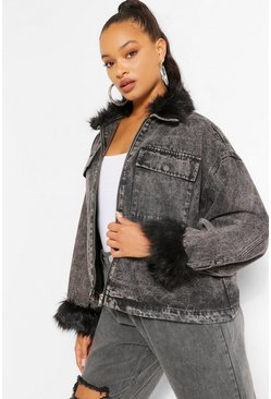Washed black Faux Fur Collar And Cuff Denim Shacket