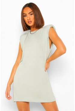 Sage green Shoulder Pad TShirt Dress