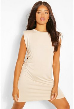 Shoulder Pad TShirt Dress, Stone beige